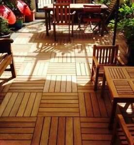 Piastrelle in legno da esterno in Acacia già IMPREGNATE 11pz = 1m² 30x30x2.4 CM