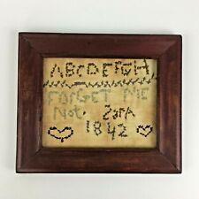 Antique 1842 Cross Stitch Needlepoint Sampler Alphabet Heart Signed Child Gift