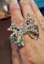 Rhinestone Silver Bow stretch ring, gift