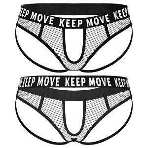 Men Hollow Out Mesh Crotchless Thongs Open Butt G-String Briefs Panties Lingerie