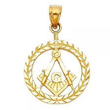14K Yellow Gold Freemason Masonic Pendant GJPT1963