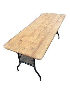 Vintage Pine Trestle Tables Folding Legs Beer Festival