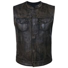 4Fit Men's SOA Motorcycle Distressed Genuine Cowhide Leather Club Style Vest