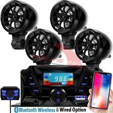 Bluetooth Motorcycle Stereo 4 Speakers Audio Amplifier System AUX USB FM UTV ATV