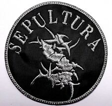 sepultura silver logo round    embroidered patch