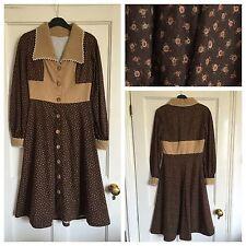 Vintage 1970s Does 40s Floral Folk Prairie Patchwork Midi Dress Size 8-10 Hippie