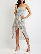 768ec6abc88 NWT Charlotte Russe size S floral ruffle midi maxi high low dress
