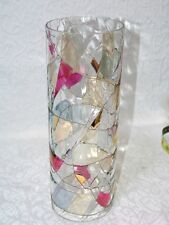 "Partylite Mosaic Tiffany 12"" Hurricane Shade Tall Glass Free Shipping"