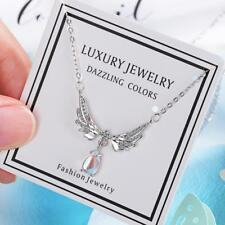 925 Silver Angel Wings Moonstone Pendant Clavicle Chain Necklace For Women Xmas