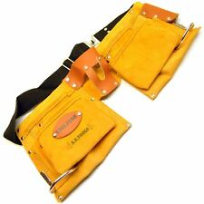 Suede Leather 10 Pocket Double Tool Roll Pouch Holder with Adjustable Belt T57