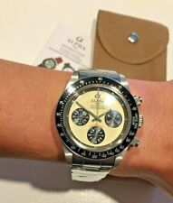 NEW Alpha Paul Newman Daytona Mech Chronograph Watch USA Stock Fast Ship Panda