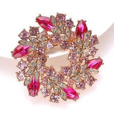 Large Flower Rhinestone Crystal Diamante Gold Brooch Party Wedding Bridal Pin