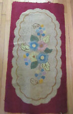"ANTIQUE VTG HANDMADE FLORAL HOOKED WOOL RUG 27""X53"" Wine Blue Yellow Pink Beige"