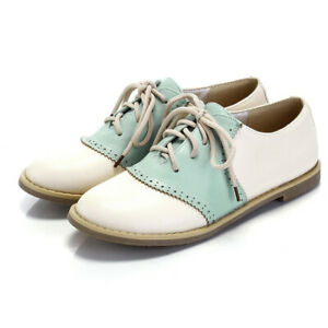 Womens Lace Up Oxfords Colorblock Retro Brogues Round Toe Casual Flat Shoes