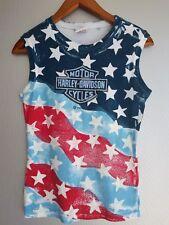 Harley Davidson 2005 Women's Tank-top Shirt USA Flag Patterns Medium      A2207