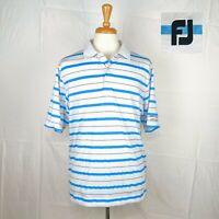 FootJoy FJ Men's Golf Polo Shirt White with Blue Stripes Size Large