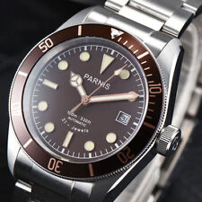 41mm PARNIS Brown Dial Sapphire Glass Date Miyota Automatic movement men's Watch