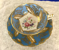 Vintage PARAGON Blue Gold Flowers Bone China Double Warrant CUP & SAUCER