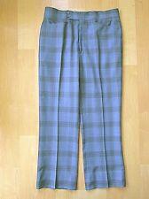 Vgc Vtg 70s Superfly Blue Gray Checker Plaid Vegas Disco Pimp Wide Leg Pants 34
