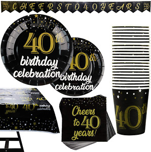 102 Piece 40th Birthday Party Supplies Set Including Plates, Cups, Napkins, Bann