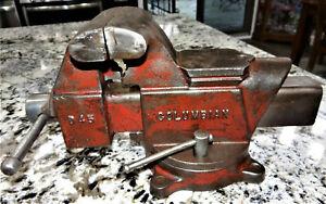 "Columbian D45 Swivel Bench Vise 5 1/4"" Jaws Opens 8"" Vtg Antique NICE!!"