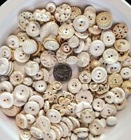 Vintage PLASTIC BUTTONS 1940's 50's 60's Assort Shapes & Sizes SHADES of White