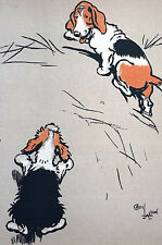 Cecil Aldin Dog Print c1900 FOX HOUNDS or BEAGLES Farm Yard Puppies - Matted Art