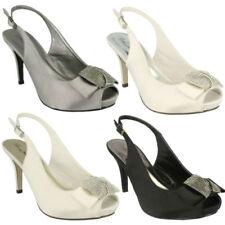 Satin Peep Toe Black Heels for Women