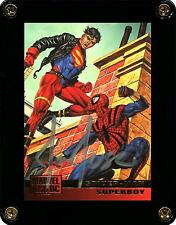 MARVEL VERSUS DC 1995 SPIDER-MAN / SUPERBOY CARD 73 SIGNED BY ARTIST JOE JUSKO