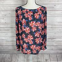 Ann Taylor LOFT Womens Long Sleeve Blouse Size Small Pink Gray Blue Floral Print