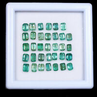 34 Pcs Colombian Emerald Natural 4mm-5mm Loose Octagon Cut Gemstones Wholesale