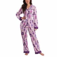 NEW Women's Purple Champagne MUNKI MUNKI Flannel PJ Set Size Medium M