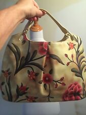 Cole Haan NWOT beige taupe hand bag with hot pink flowers