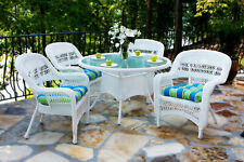 Tortuga Outdoor White Wicker Furniture 5 Piece Patio Dining Set With Cushions