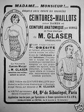 PUBLICITÉ CEINTURES-MAILLOT POUR DAMES ET ANATOMIQUE POUR HOMMES DE M. GLASER