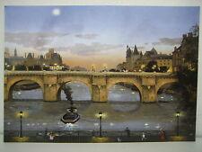 MICHEL DELACROIX  Post Card PONT NEUF LE SOIR PARIS FRANCE