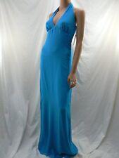 $300 Nicole Miller Turquoise Blue Silk Chiffon Halter Gown Dress 2 NWT N230