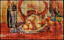 32x20 Cézanne Apple, Bottle & Chair Back Fine Art Tile Mural for Ktichen