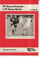 OL 82/83 1. FC Union Berlin - FC Hansa Rostock
