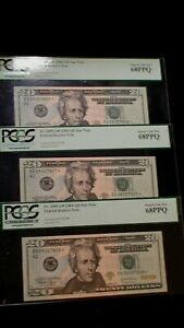 THREE 2004 Twenty Dollar PCGS SUPERB GEM 68 PPQ NOTES BOSTON $20 BILLS!
