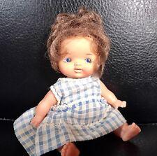 Vintage Baby Girl Doll Hong Kong Japan Brown Hair Painted Blue Eyes Vinyl Lovely