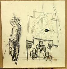 Albert DECARIS (1901-1988) Dessin Original Personnage Féminin Danse Orientale