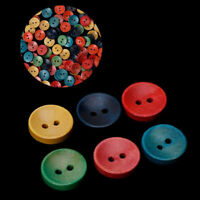 100Pcs  Mixed Wooden Wood Button  2 Holes 15mm Sewing Scrapbooking DIY Craft~