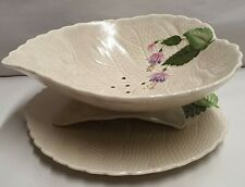 Vintage S Fielding & Co Crown Devon Fuschia Salad Strainer & Underplate c1939-56