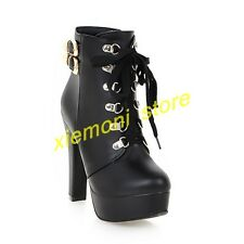 Fashion Womens Leather Lace Up Platform Block High Heel Buckle Boots Shoes Sz 11