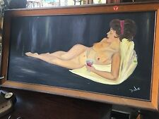 Original Oil Painting Sexy Nude Girl Antique Woman Erotic Signed Artist Bargain