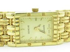 Solid 14k Yellow Gold Geneve Quartz Basket Weave Cable Design Rectangular Watch
