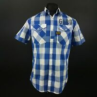 G-Star Raw Mens Shirt MEDIUM Short Sleeve Blue Regular Fit Check Cotton