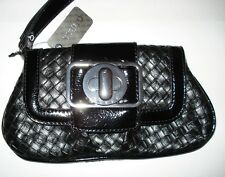GUESS WRISTLET CLUTCH SMALL PURSE BLACK SILVER SNAP BUTTON