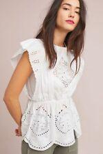NEW ANTHROPOLOGIE Amanda Lace Peplum Boho Top White Medium
